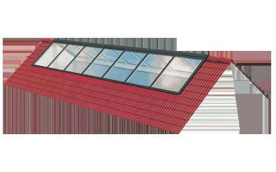 Überfirstverglasung für Dachneigungen von 25° bis 60°