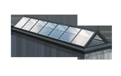 Satteldach – Dachverglasung für Flachdächer, optisch ähnlich der Firstverglasung