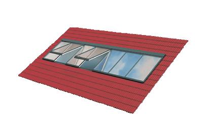 Lichtband Dachverglasung bei Dachneigungen von 15° bis 90°