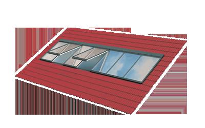 Lichtband-Verglasung - Fenstermodule in Reihe. Festverglast und zum Öffnen