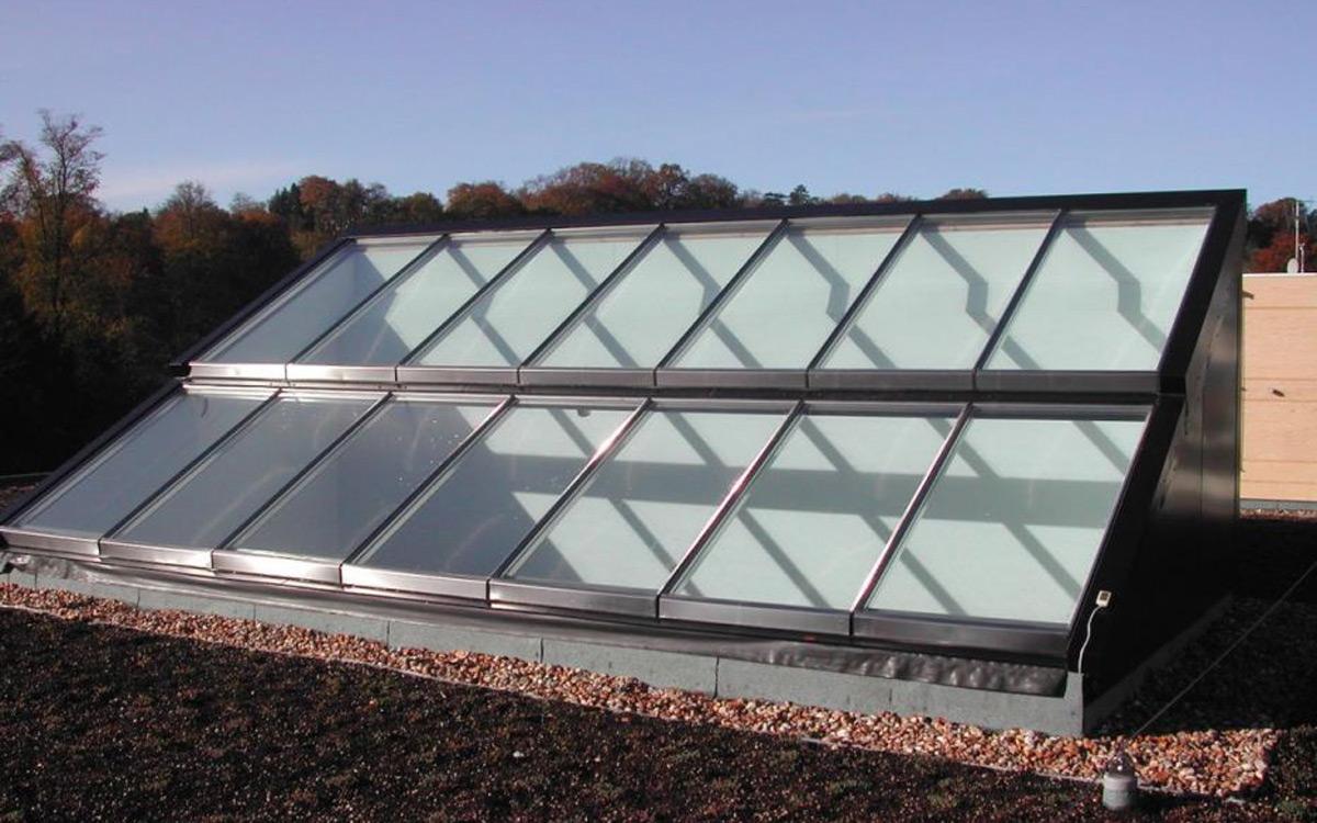 Pultdach mit Atriumverglasung