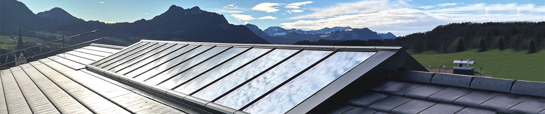 Firstverglasungen für Dachneigungen von 15° bis 60°
