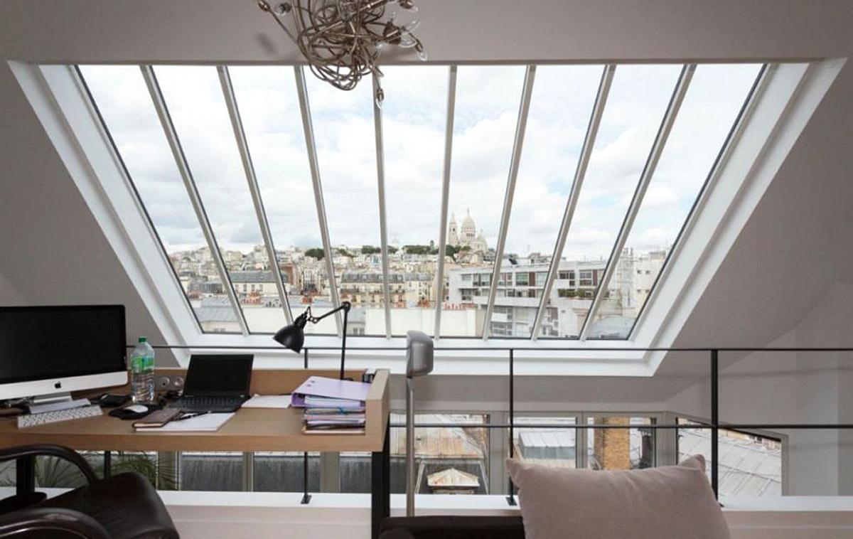 Panoramafenster mit Blick auf Sacré-Cœur de Montmartre