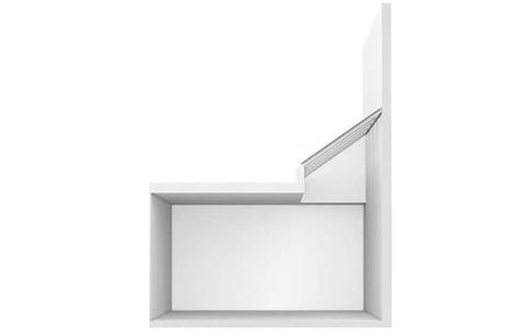Wandmontage-Lichtband in einem Flachdach mit Unterkonstruktion.