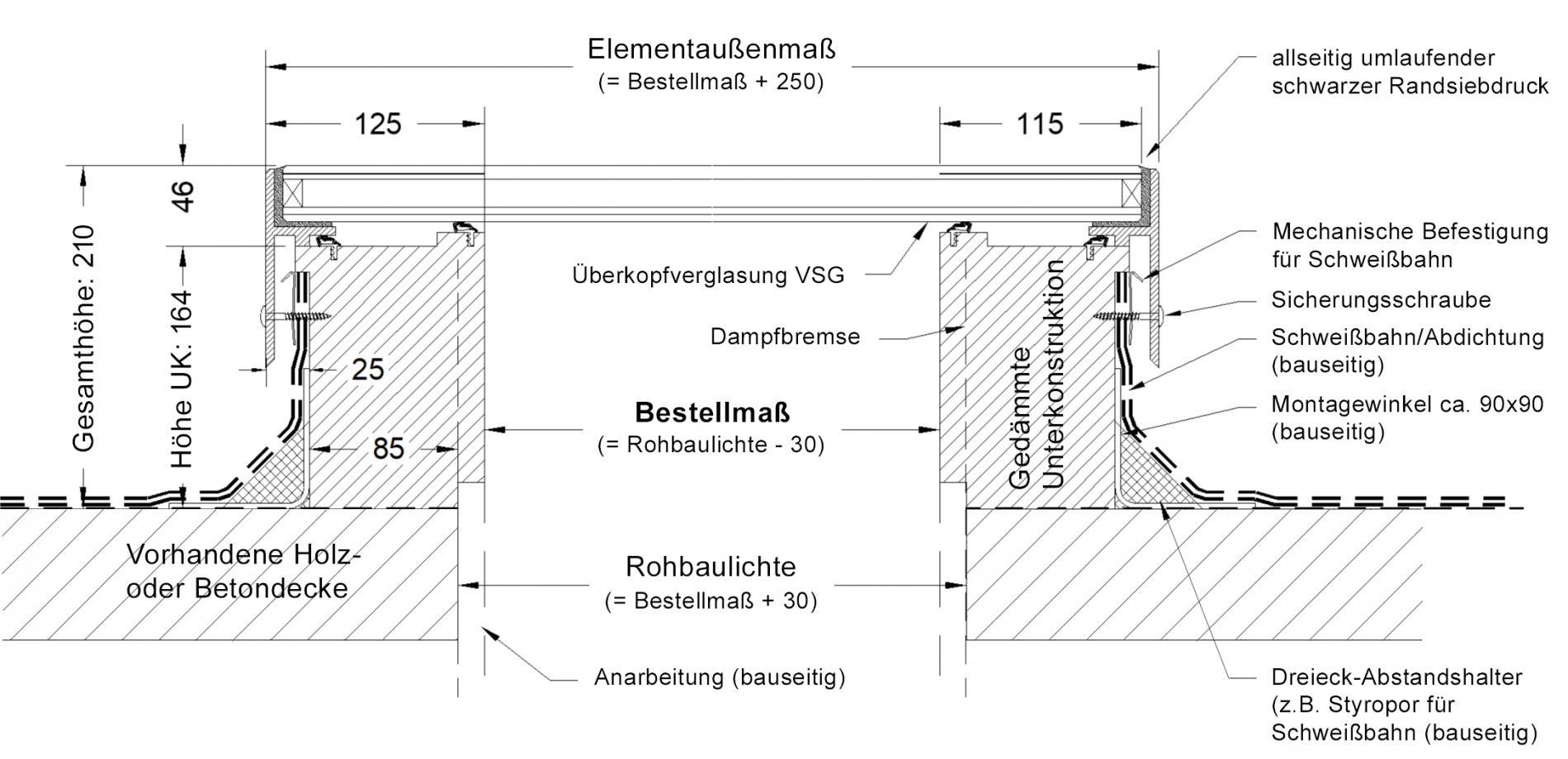Technische Zeichnung SkyVision ACCESS - Brandschutz-Oberlicht mit Servicezugang und RWA