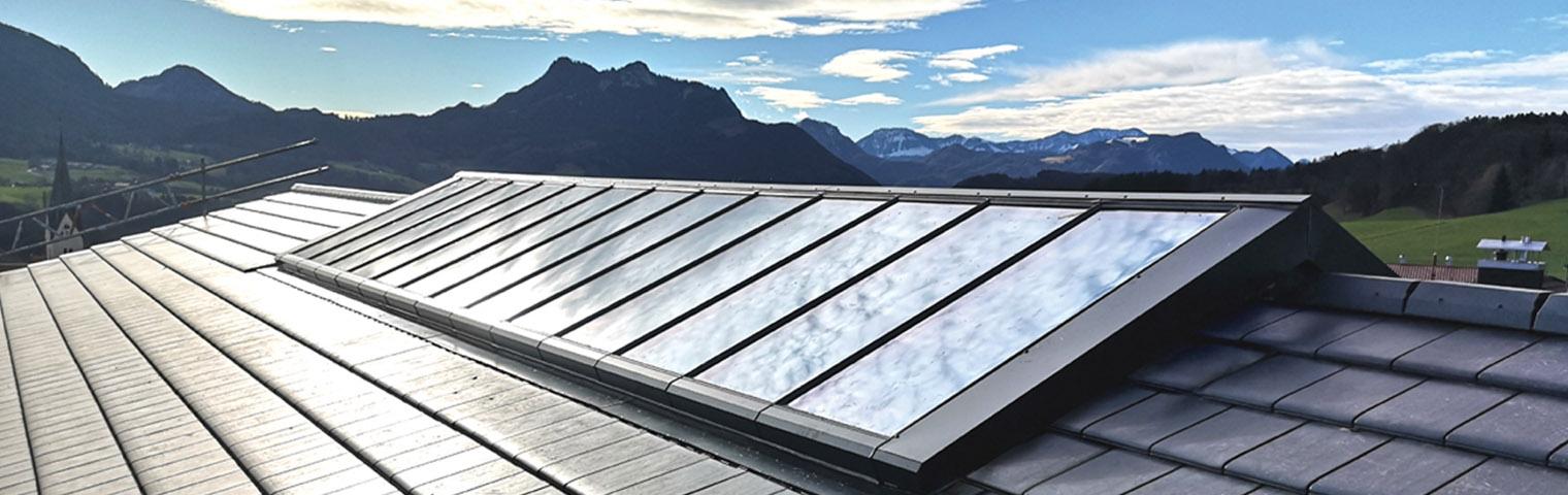 Firstverglasung, Dachfirst-Fenster mit festen und zu öffnenden Fenstermodulen