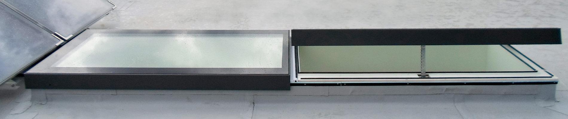 Flachdachfenster SkyVision LINEAR: Kombination aus zu öffnenden und festverglasten Modulen