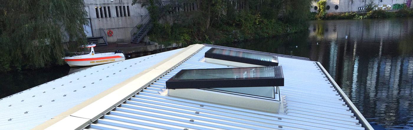 zu öffnende Design-Oberlichter / Dachfenster für flache Dächer