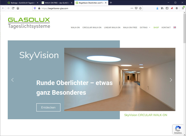 Website begehbares-glas.com runde Oberlichter CIRCULAR WALK-ON
