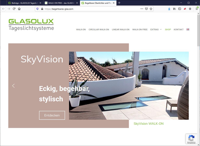 Website begehbares-glas.com rechtwinklige Oberlichter WALK-ON