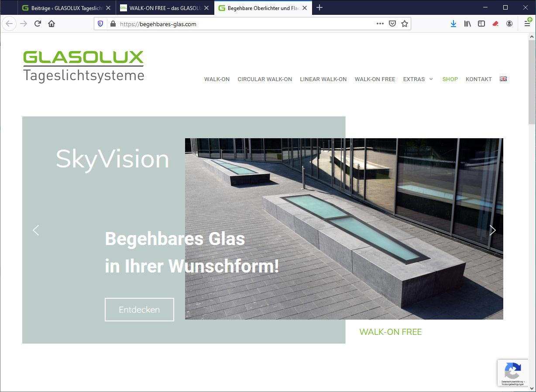 Website begehbares-glas.com – WALK-ON FREE begehbare Oberlichter in Wunschform