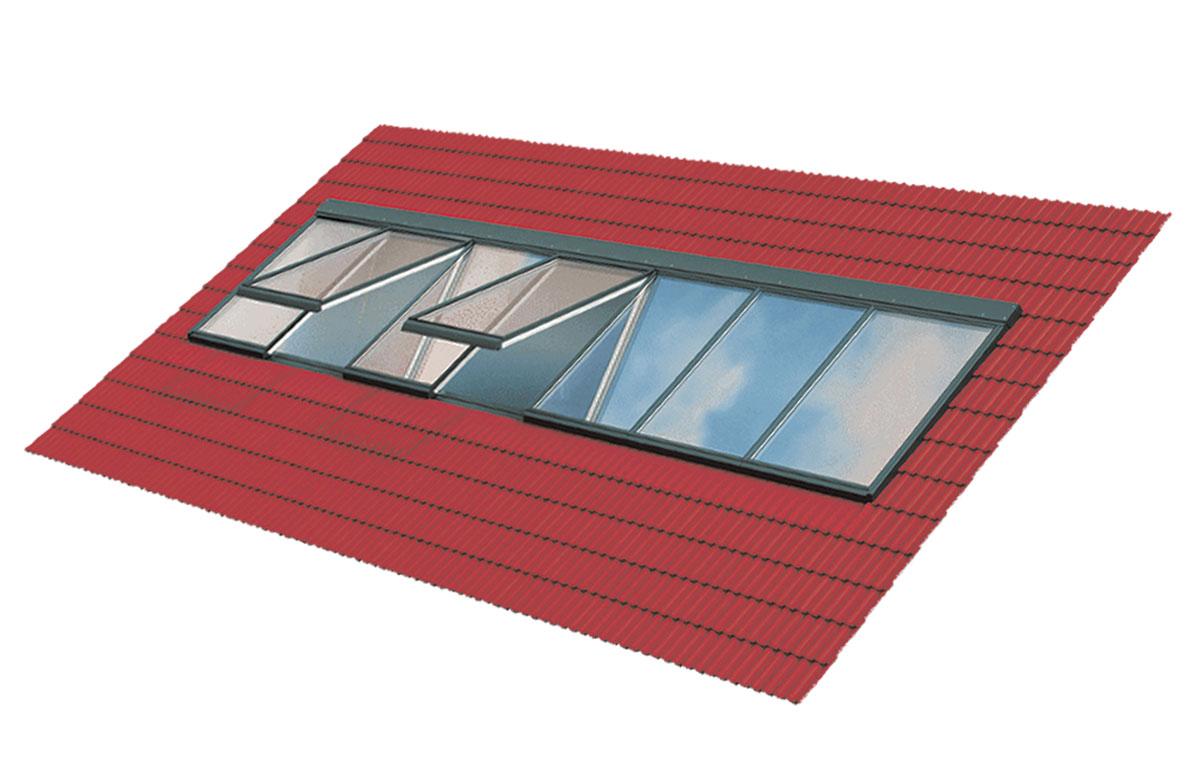 Lichtband Dachverglasung für Steildächer mit einer Dachneigungen von 15° bis 90°
